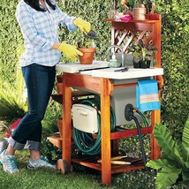 Wood Outdoor Rolling Portable Garden Sink Work Station With Garden Sink - £278.44 GBP