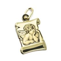 Pendentif Médaille en or Jaune 750 18K, Ange Gardien, Parchemin, 18 MM image 1