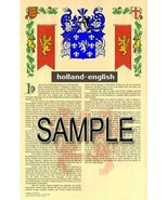 Holland Coat of Arms (Armorial Name History) Family Crest 11x17 Print Sc... - $18.99