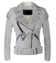 Women's Punk Rock White Studded Biker Style Leather Jacket For Ladies - $349.99+