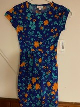 LulaRoe MAE girls dress in size 8.   floral blues and orange.  HAS POCKETS - $25.00