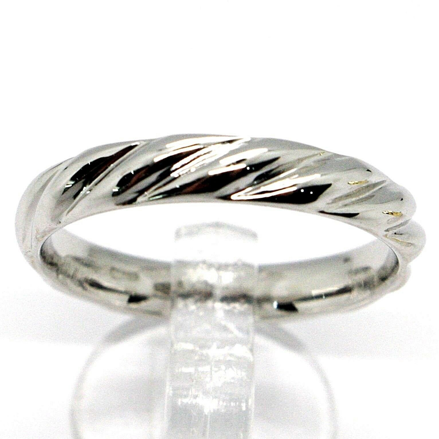 18K WHITE GOLD BAND BRAIDED RING, BRAID WOVEN, SMOOTH, MADE IN ITALY