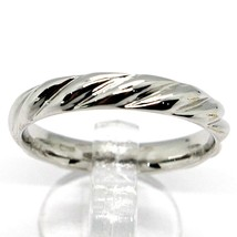 18K WHITE GOLD BAND BRAIDED RING, BRAID WOVEN, SMOOTH, MADE IN ITALY image 1