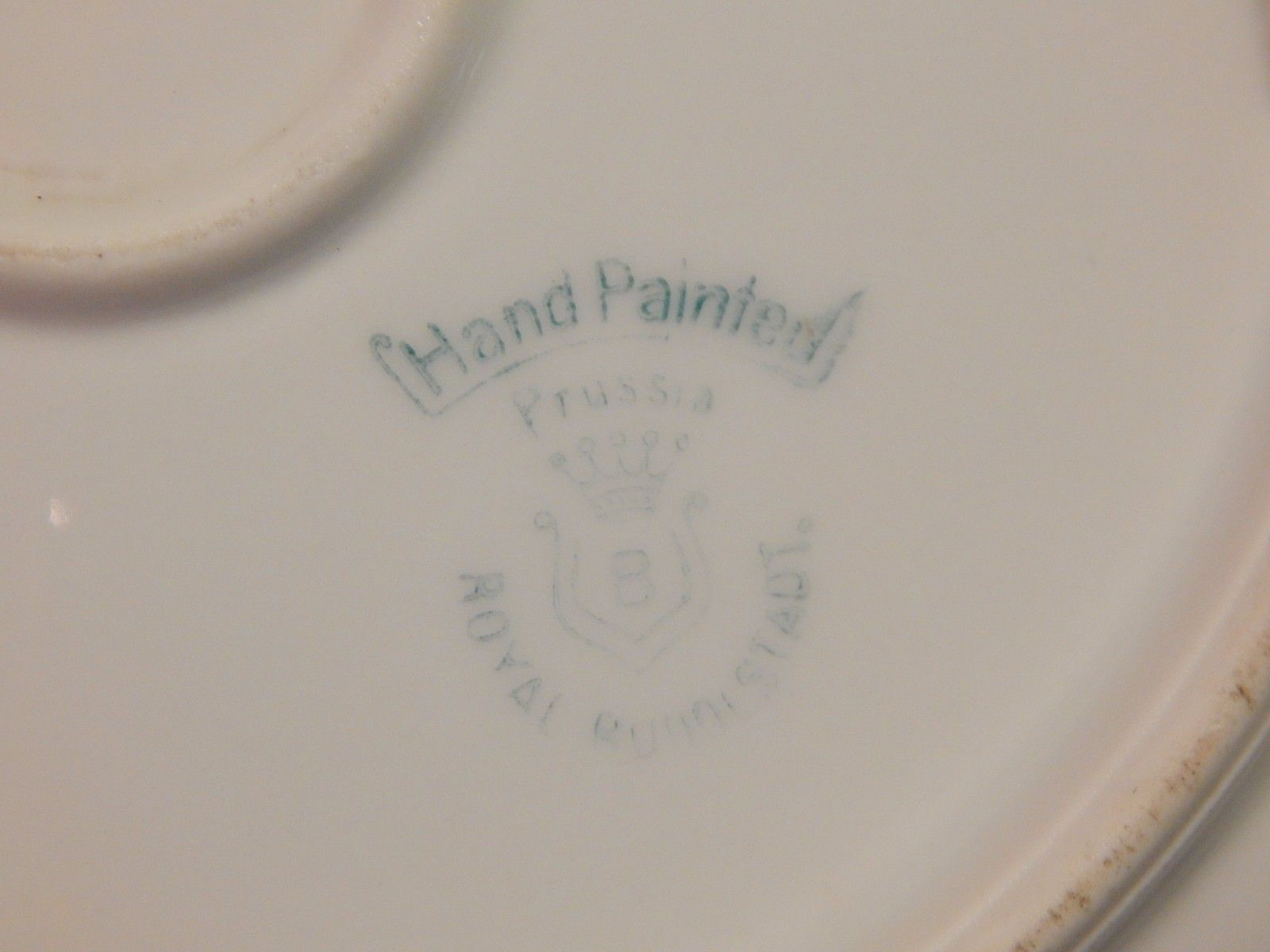 Royal Rudostadt Prussia Hand Painted Plate Saint Bernard Dog signed Hahn