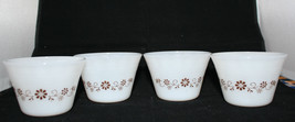 Set of 4 Vintage Dynaware Pyr-o-rey Milk Glass Small Cups Brown Flowers - $22.68