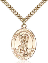 14K Gold Filled St. Christopher Pendant 1 X 3/4 inch with 24 inch Chain - $140.33