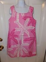 Vintage Lilly Pulitzer Lined Pink Palm Tree Print Dress Size 10 Girl's EUC - $39.78