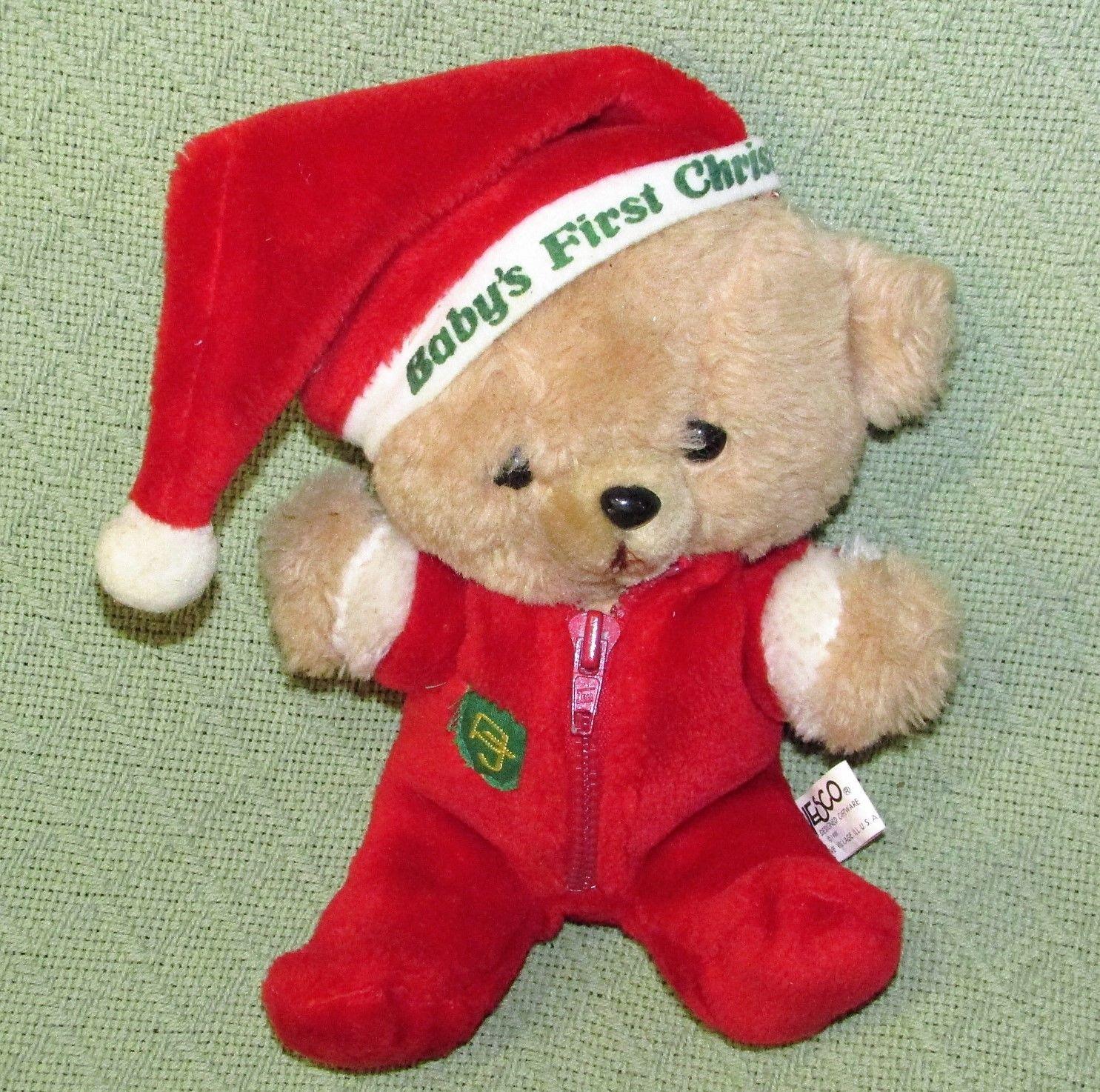 "10"" Vintage ENESCO PJ TEDDY Plush Bear BABY'S FIRST CHRISTMAS Stuffed KOREA RARE image 9"