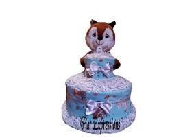 Woodland Boy Blue 2 Tier Diaper Cake, Forest Diaper Cake, Fox Diaper Cak... - $84.00