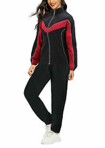 Women's Casual Jogger Running Working Out Straight Leg Black & Red Tracksuit Set