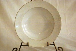 "Rosenthal White Velvet Soup Bowl 8 1/8"" Continental Line Gold Trim - $10.39"