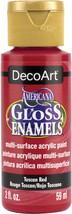 Americana Gloss Enamels Acrylic Paint 2oz-Tuscan Red - $6.97