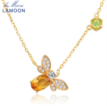 Natural Citrine 925 Sterling Silver Jewelry 14K Yellow Gold Plated Chain - $23.99