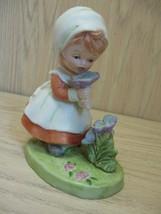 Vintage Figurine Statue Ceramic Little Blonde Girl  Smelling Pink Flowers - $7.95