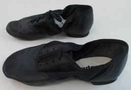 Capezio 358 Jazz Shoes Split Sole Lace-up Black Leather Adult Size 3.5 W... - $20.69