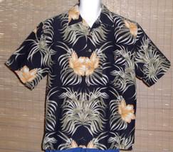 Joe Marlin Hawaiian Shirt Black Tan Floral Size Large - $19.99