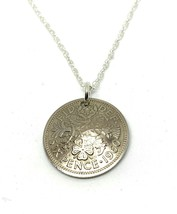 1955 65th Lucky Sixpence Domed Pendant + 18in SS Birthday Anniversary 19... - $16.36