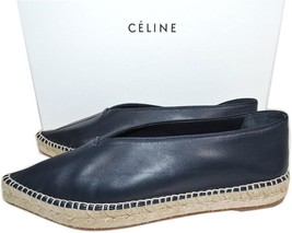 Celine Paris Flat Sandal V Neck Navy Leather Espadrille 39 Flats Ballerina - $315.00