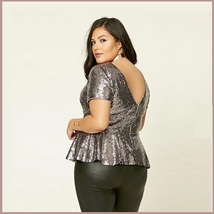 Silver Sequin Scoop Neck Short Sleeve Flare Victorian Waist Long Plus Size Top image 3