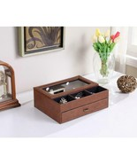 12 in. Brown Leatherette and Tempered Glass Men Valet Box - $37.57