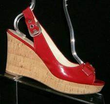 Franco Sarto 'Carnival' red peep toe buckle slingback cork platform wedg... - $28.63