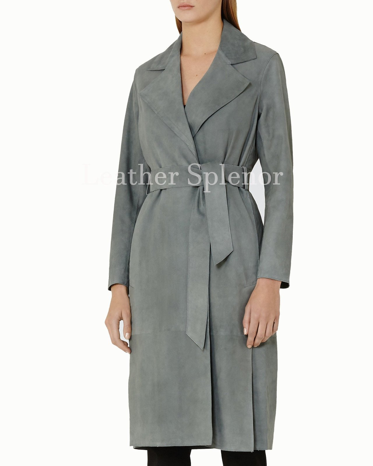 Notch Collar Women Suede Leather Trench Coat