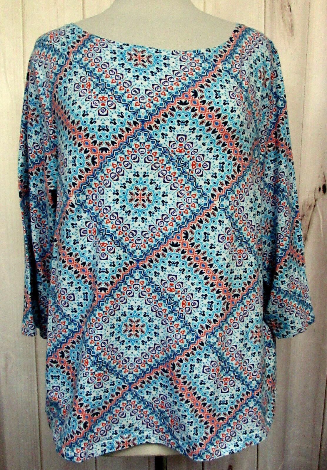 TALBOTS Multicolor Print 3/4 Sleeeve Cotton Stretch Pullover Tee Top PLUS Sz 2X