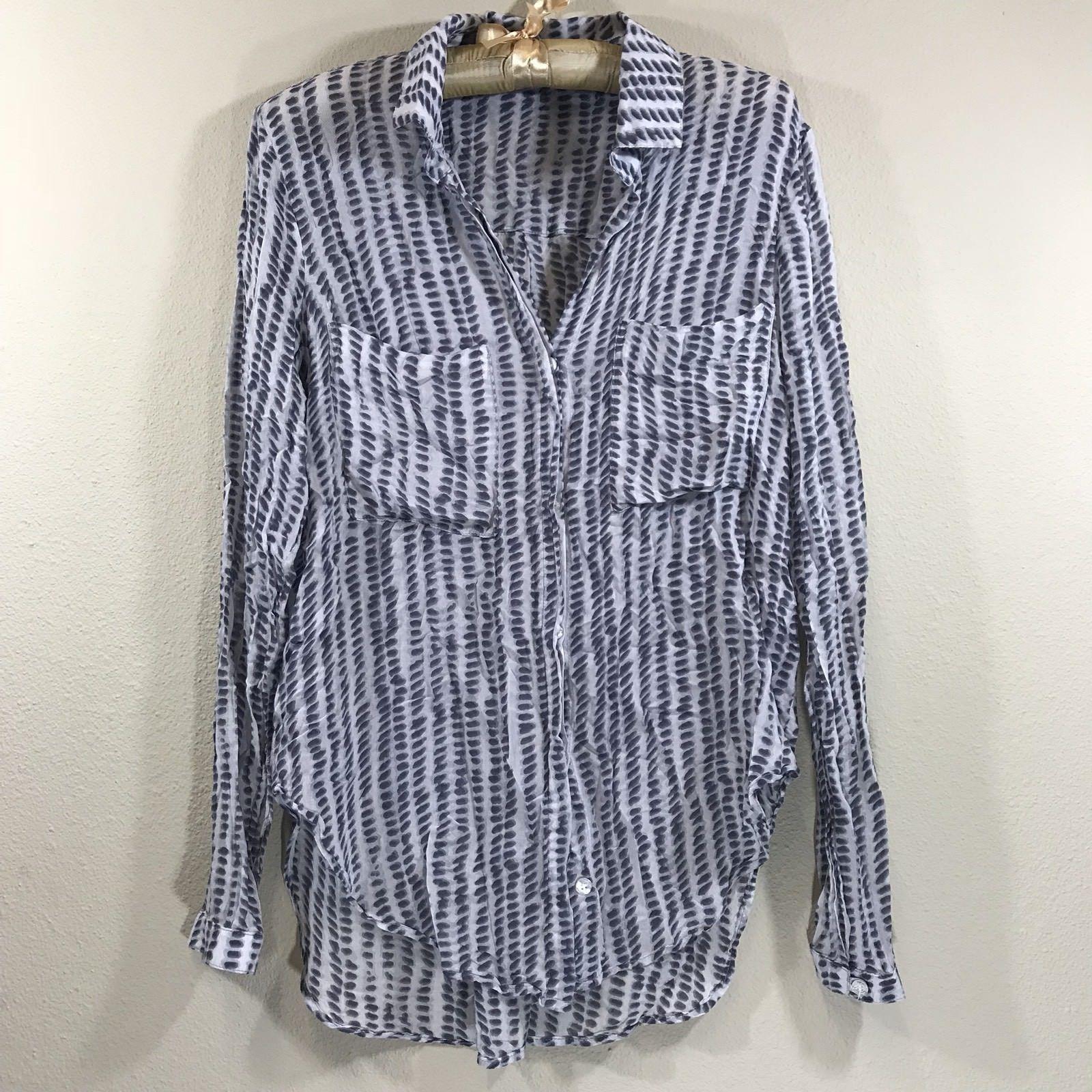220142cdd73 S l1600. S l1600. Previous. Anthropologie Cloth & stone blue white hi low  pocket buttondown top blouse small
