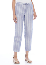 NWT ANNE KLEIN BLACK BLUE STRIPE LINEN DRAWSTRING WAIST PANTS SIZE 16 $89 - $34.99