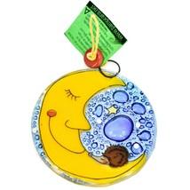 Fused Art Glass Hedgehog Sleeping on Moon Ornament Handmade in Ecuador