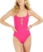 La Blanca PINK Island Goddess Lace-up One-Piece Swimsuit, US 14 - $53.01