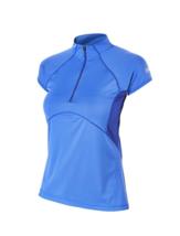 Size 12 Berghaus Women's Vapour II Base 1/2 Zip Short Sleeve Shirt Blue UPF 30+
