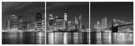 Modern City Night View Stretched and Framed Seascape 3 panels Giclee Can... - $69.95
