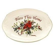 New Lenox Winter Greetings Bless This Home Oval Serving Tray NIB - $571,08 MXN