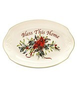 New Lenox Winter Greetings Bless This Home Oval Serving Tray NIB - $28.17
