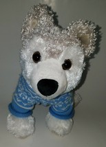 Animal Adventure White Husky Plush Stuffed Animal Wolf Dog Toy Blue Sweater 2009 - $21.73