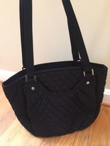Vera Bradley Microfiber Glenna Shoulder Bag Tote Purse Classic Black NWT... - $69.25