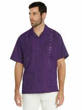 Men's Guayabera Beach Wedding Casual Short Sleeve Purple Dress Shirt w/ Defect image 1