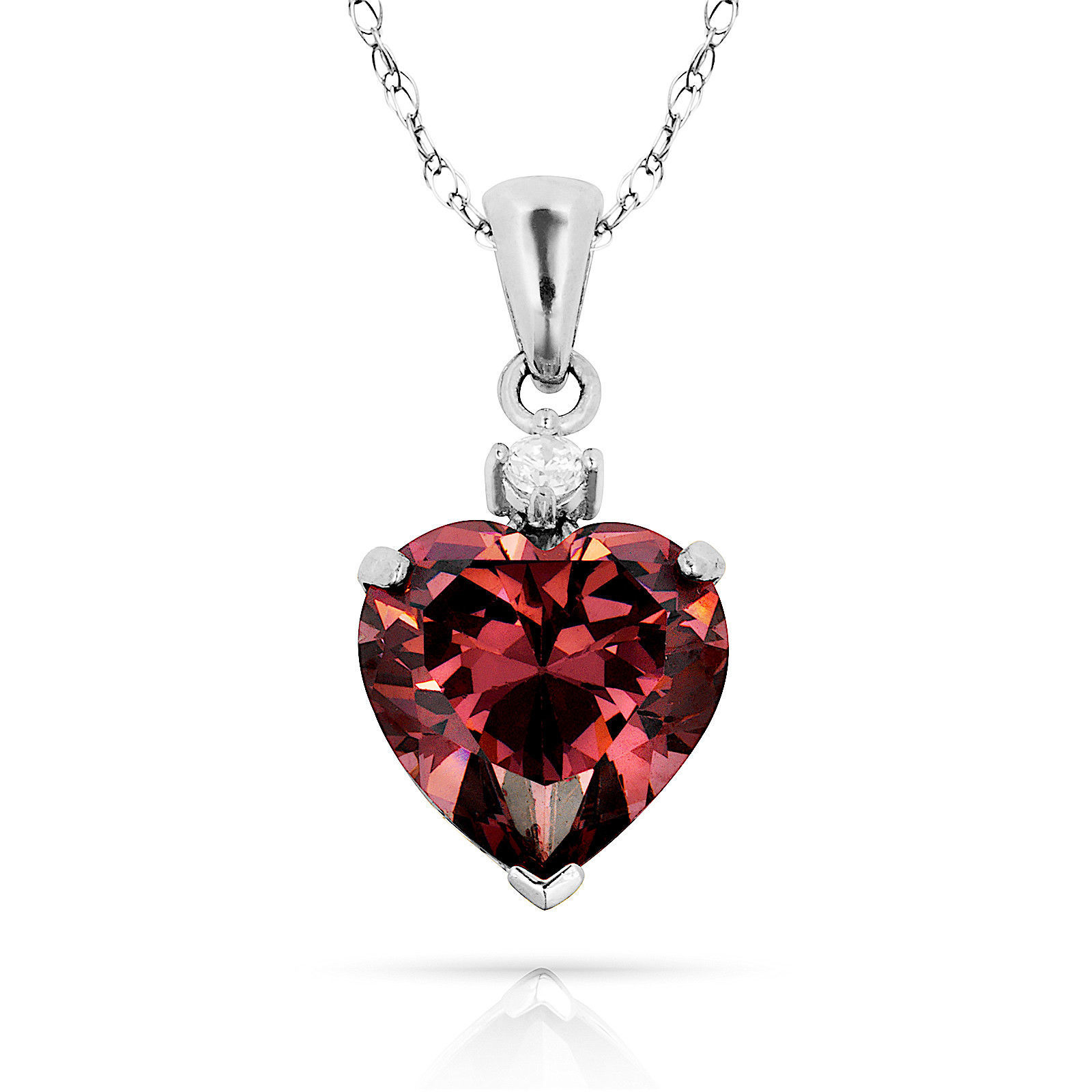3.07Ct Created Diamond & Heart Alexandrite Charm Pendant14K White Gold w/Chain