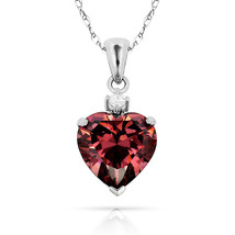 3.07Ct Created Diamond & Heart Alexandrite Charm Pendant14K White Gold w/Chain - $68.88+