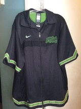 VTG Nike Flight 90's Track Athletic Dri Fit Zip Up Jacket Black Green SZ... - $83.83