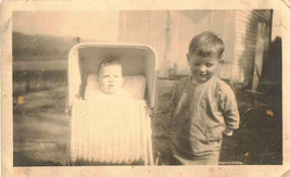 Antique Vintage Photograph Adorable Little Boy With Baby in Carriage - $5.35