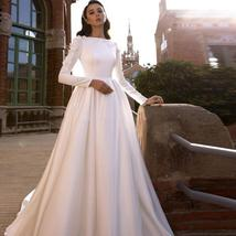 Solid Satin Long Sleeve Lace Appliques Country Court Train Wedding Plus Sizes