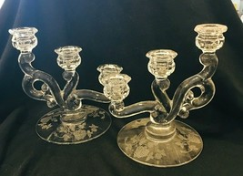 Vintage Pair Heisey Rose 3 Lite Candlesticks Etched Rose Crystal Glass Excellent - $123.75