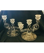 Vintage Pair Heisey Rose 3 Lite Candlesticks Etched Rose Crystal Glass E... - $123.75