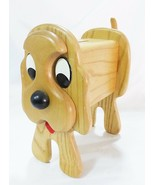Vintage wood dog still piggy bank money saving moving tail - $15.97