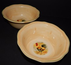 2 Gibson Designs Royal Rooster Hand Painted Cereal Soup Bowls Everyday Green  - $29.69