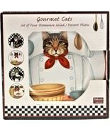 Sakura Oneida Stephanie Stouffer Gourmet Cats Set Of 4 Salad Plates New ... - $49.49