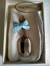 Silver Plated Spoon + Wash Cloth Gift Set Baby Boy Blue Polka Dots Ribbon  - $9.95