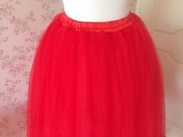 Women's Red Tulle Skirt Floor Length Red Maxi Tulle Skirt High Waist Prom Skirt image 4